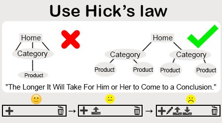 Use Hick's law