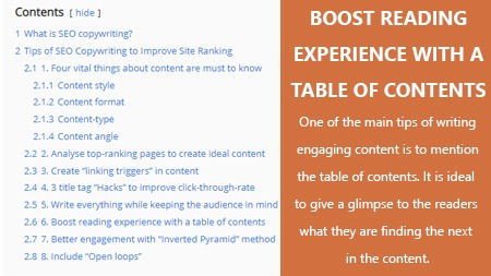 Boost reading experience with a table of contents