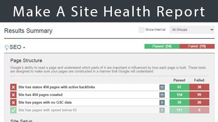 Make a site health report